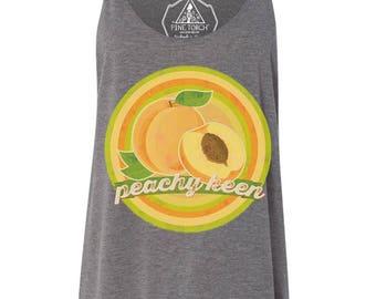 PEACHY KEEN Retro Vintage Peach Slouchy Triblend Tank Plus Size /foodie, peach, peachy, peachy keen tank, peach retro tank