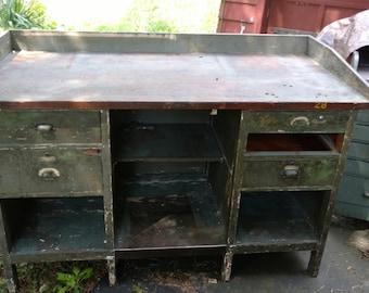 Green Wooden Workbench