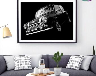Mini Cooper Sport Pack - Grey Mini Photographic Design - Art Print- Mini Cooper Sport Pack - Classic Mini Car - Austin Mini Cooper