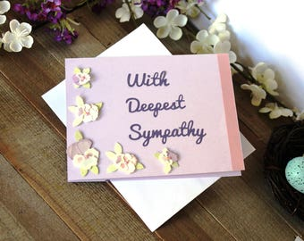 Handmade Sympathy Card, Condolences, Lavender, Pansies Floral, Ribbon, With Deepest Sympathy, Blank Inside, Free US Shipping