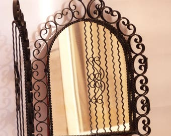 Vintage mirror from the south of France - 50's/60's - Wrought iron - 2 shutters - Rare piece -