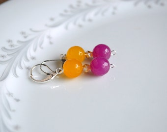 Yellow and violet jade and crystal sterling silver dangle earrings, jade jewlery