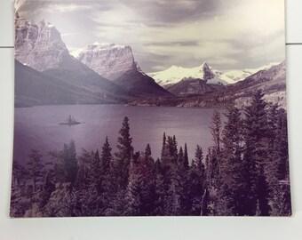 St. Marys Lake Photography Sepia Poster M R Overholt Vintage Original Art Print