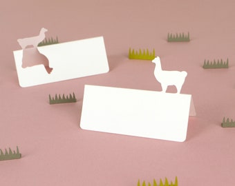Llama Tent Style Place Cards Set of 24 | llama wedding escort cards , banquet name cards, animals, farm
