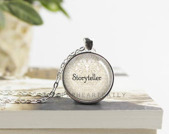 Storyteller Necklace - Author Pendant - Author Gift - Jewelry for Writers - Storyteller - Writer Gift - Silver Writer Pendant -  (B6501)