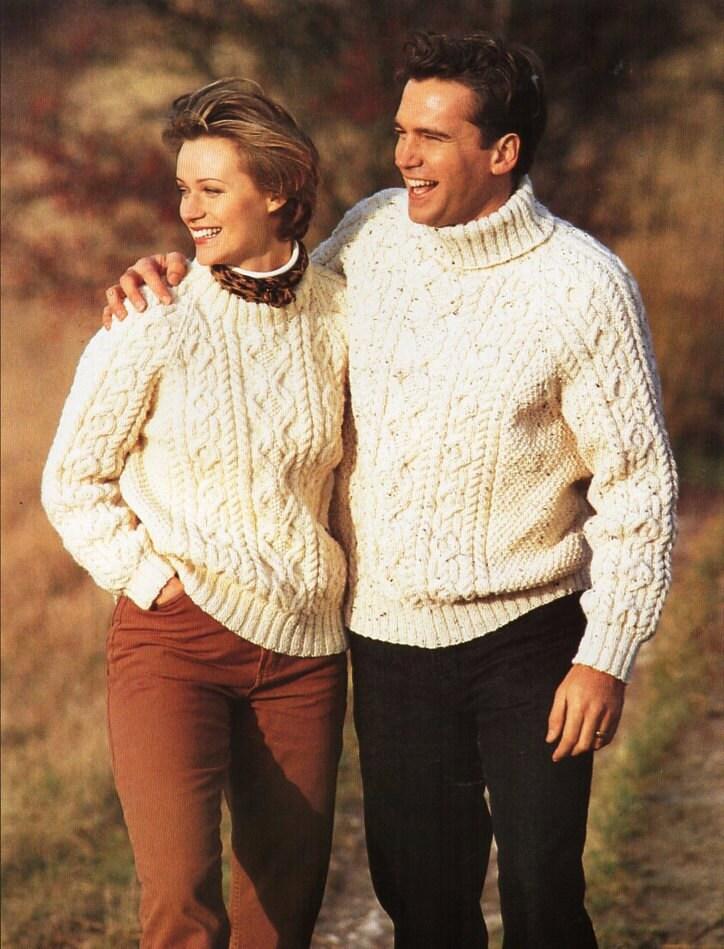Womens Mens Aran Sweater Unisex Knitting Pattern Pdf Download