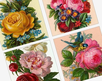 Rare Victorian Roses - One Inch (25mm) Pendant Images - 1x1 Inch - Printable Digital Collage Sheet - Buy 2 Get 1 Free - Instant Download