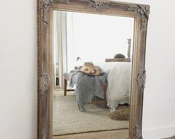 French Ornate Wall Mirror, Vanity Mirror, Bathroom Mirror, Farmhouse Bathroom Mirror