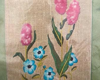 Vintage Crewel Kit - NOS- Blue Pansies Pink Hyacinths  Flower Crewel Craft Project Needlework  DIY Creative Stitchery Kit