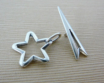 Sterling Toggle Clasp, Silver, Star, Closure