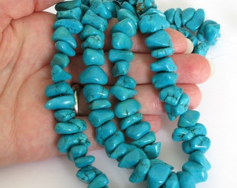 Turquoise Magnesite Nuggets, 8x15mm Nuggets, Turquoise Blue Magnesite Nuggets, Nugget Beads, Turquoise Blue, Mag202