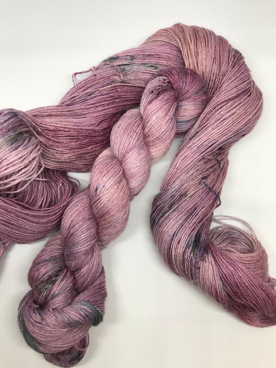Juniper - 100g 50/25/25 Baby Alpaca / Silk / Linen Sock Yarn 4 ply, fingering, hand dyed in Scotland, purple variegated teal speckles
