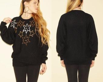 ON SALE Vintage 80s Black Beaded Gem Gold Embellished Sweater Knit Pullover Oversized Star Print Celestial Deco Glam Medium