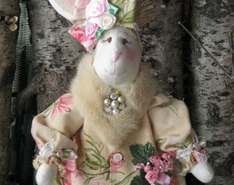 Shabby Chic Bunny, Victorian Bunny, Easter Decor Bunny, Handmade Bunny