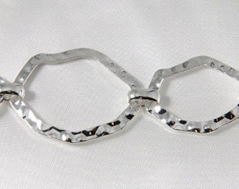 Large Hammered Wavy Oval Link Chain Silver 3 Feet