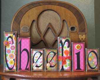 Spring Decor, Spring Sign, Easter Sign, Easter Decor, Spring Blocks, Welcome Sign, Cheerio, Encouragement Word Blocks