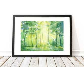 Forest Rays - Watercolor Landscape - woodland - forest painting - watercolor print - tree art - woodland nursery - lake house decor