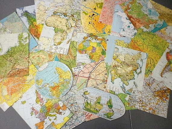 World map pack assortment of 30 large pieces of different paper world map pack assortment of 30 large pieces of different paper collage scrapbooking altered art ench vintage from chezannick on etsy studio gumiabroncs