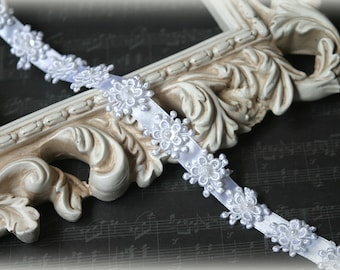 White  Satin Trim, Flower Trim with Bead and Sequins, Couture Gowns, Custom Designs, Dressmaking, Crafting, etc, GL-189