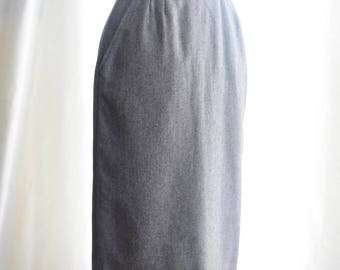 1980's Gray Wool Pencil Skirt by K.T.C.