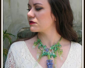 CLEARANCE - Beaded Statement Necklace - Purple Wisteria Necklace EBW by Hannah Rosner