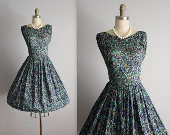 50's Dress // Vintage 1950's Abstract Print Full Garden Party Dress S