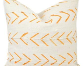 "18x18"" Yellow Hand Printed Mali Pillow"
