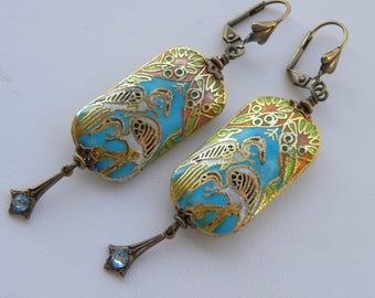 Art Deco Earrings Turquoise Blue Bird Earrings Rare Vintage Cloisonne Earrings Birds Egret Crane Long Rectangle Art Nouveau Bird Earrings
