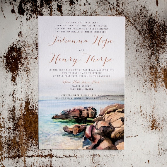 Wedding Invitation, Beach Wedding Invitation, Watercolor Wedding Invitation, nautical wedding invitation, waves, beach, ocean - The Maine