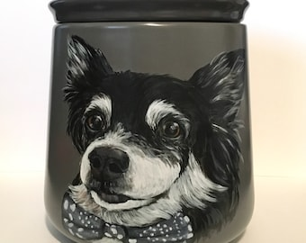 Custom hand painted pet portrait urn