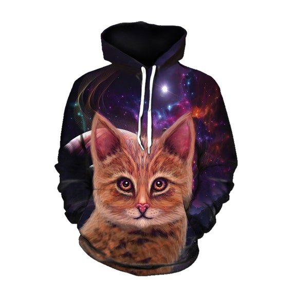 Space Cat Psychedelic Art Hoodie - Visionary Art - Womens Festival Clothing - Trippy Hoody fn0DBGC