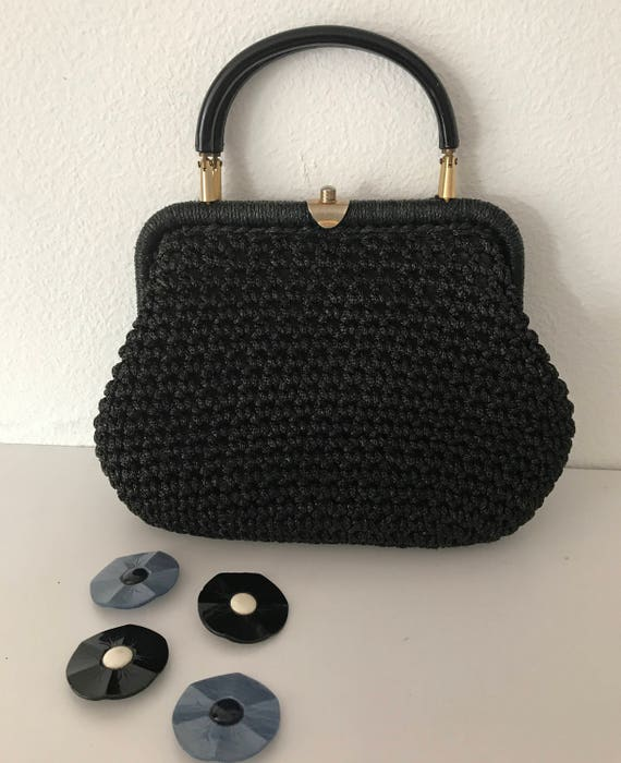 Sixties vintage knitted black handbag