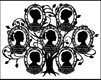 Custom Family Tree - with 7 Silhouettes
