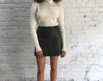 vintage Ralph Lauren brown leather skirt / soft leather dark brown mini skirt