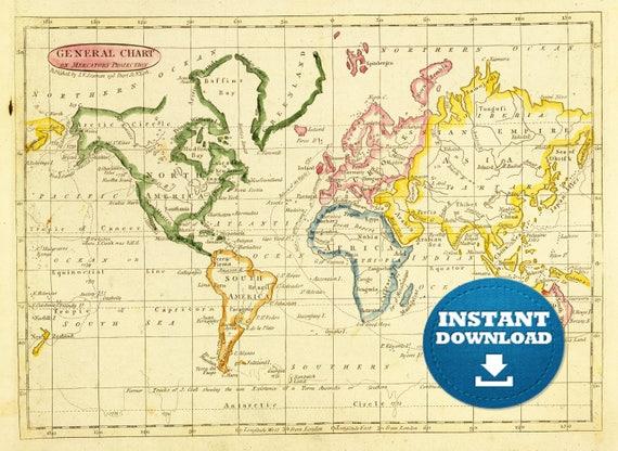 Digital old world map printable download vintage world map gumiabroncs Image collections
