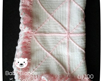 White blanket with pink-100 x 120 cm-Handmade-crocheted