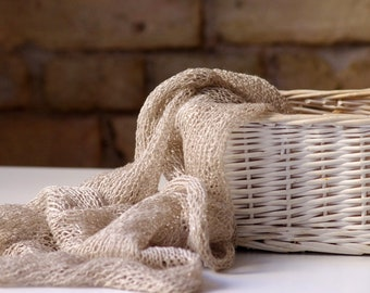 Hand knitted scarf  from natural  linen.   Ready to ship.