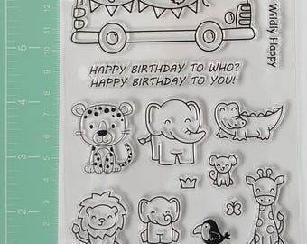 Zoo Animals Stamps, Birthday Stamp, Leopard Stamp, Elephant Stamp, Crocodile Stamp, Lion Stamp, Elephant Stamp, Giraffe Stamp, Bear Stamp