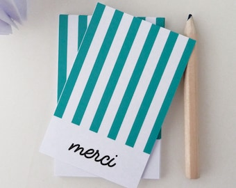 Set of 18 mini green striped thank you cards