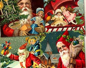 Santa Claus Download .85 inch Square Printable, Victorian Christmas Postcards, Vintage Christmas Kids for scrabble & glass tile - piddix 434