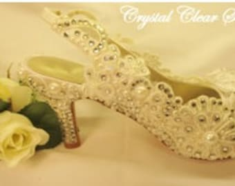Lace Covered,  Embellished Pearl & Crystal Bridal Shoe
