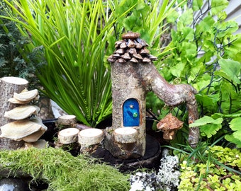Pixie Woodland Fairy House with Dark Blue Door, Steps and Bird House