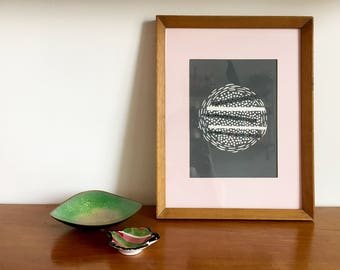 Abstract grey modernist lino print with paper featuring Chine-collé in Vintage wood frame with pink mount
