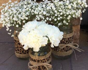 Mason Jar Wrap, Cheetah & Burlap Jar Wrap, Shower, Party, Wedding, Centerpiece, Decoration