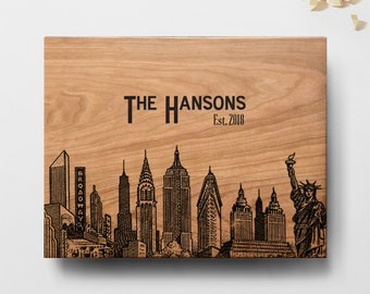 New York Skyline Cutting Board, Wedding Cutting Board, Personalized Engraved Cutting Board, Personalized Wedding Gift,Custom Cutting Board