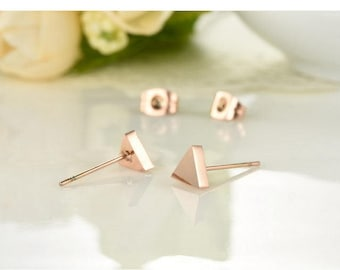 1 Pair/Bulk Stainless Steel Earrings, 14K Rose Gold Plated Square, Triangle Earrings, Ready to Use