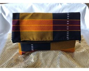 African print, kente, fold over, clutch