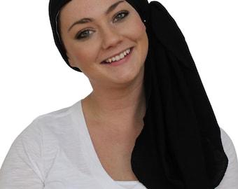 Jessica Pre-Tied Head Scarf, Women's Cancer Headwear, Chemo Scarf, Alopecia Hat, Head Wrap, Head Cover for Hair Loss - Black