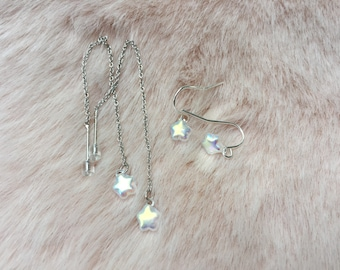 cute iridescent, opalescent czech glass threader and dangle earrings for women and girls