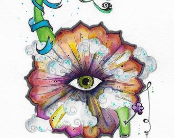 """pen &  ink / watercolor *original*  7"""" x 9""""  The Queen's Hands * twilightdance"""